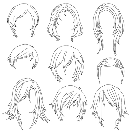 toupee: Hair styling for woman drawing Set 2. illustration isolated on white Background