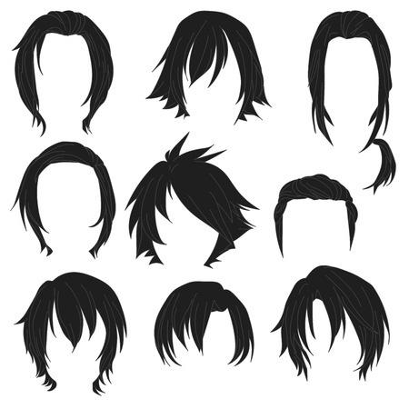 toupee: Hair styling for woman drawing Black Set 3. illustration isolated on white Background