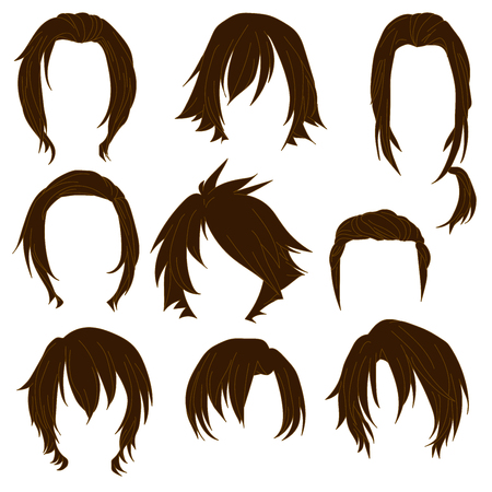 toupee: Hair styling for woman drawing Brown Set 3. illustration isolated on white Background