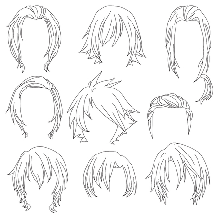 Hair styling for woman drawing Set 3. illustration isolated on white Background Illustration