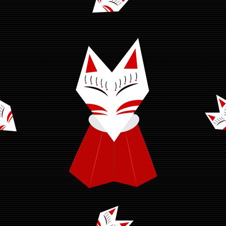 Inari Fox Black Background Pattern Vector Illustration