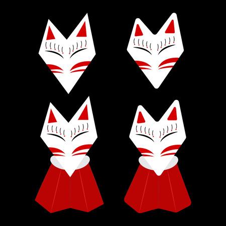 vermilion: Inari Fox Kitsune White Face with Red Mark Vector Illustration Illustration