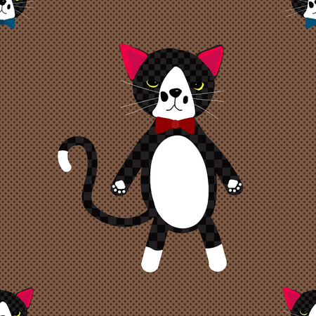 whisker characters: Black Cat with Ribbon on Brown Background. Cute Pattern
