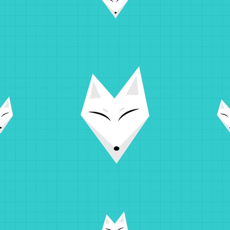 arctic fox: Arctic Fox Blue Background Vector Illustration