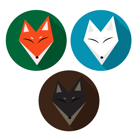 gray wolf black and white: Red Fox, Arctic Fox, Brown Fox. Vector Illustration