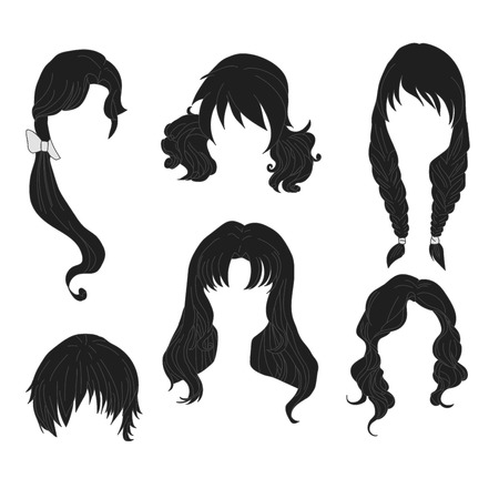 hairstyling: Hair styling for woman drawing Black Set 4. illustration isolated on white Background