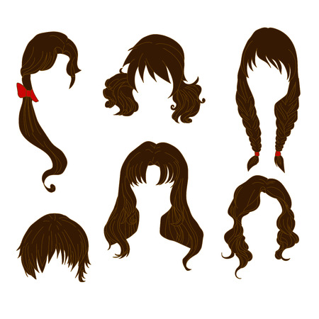 toupee: Hair styling for woman drawing Brown Set 4. illustration isolated on white Background