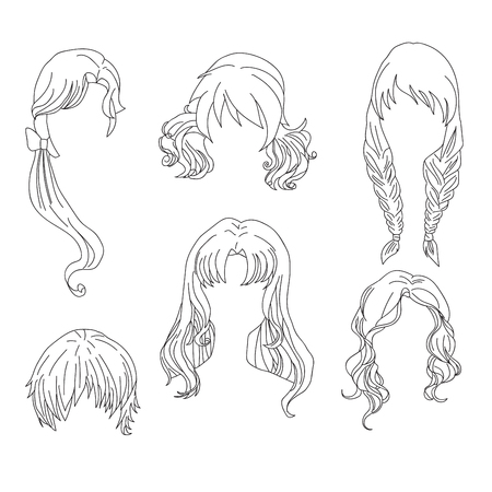 Hair styling for woman drawing Set 4. illustration isolated on white Background