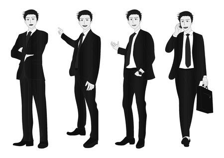 man full body: Business Man Full Body Gray Illustration