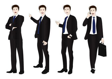 man full body: Business Man Full Body Color Illustration Illustration