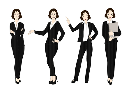 business woman: Business Woman Color Full Body Illustration Illustration