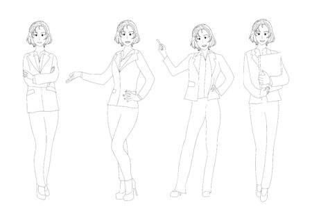 business woman: Business Woman Full Body Illustration Illustration
