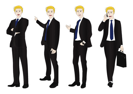 man full body: Business Man Full Body Color Blonde Illustration