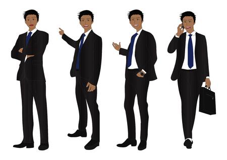 man full body: Business Man Full Body Color Black Illustration