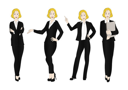 full body woman: Business Woman Color Full Body Blonde Illustration Illustration