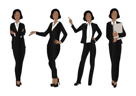 black woman: Business Woman Color Full Body Black Illustration