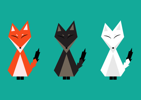 arctic fox: Red Fox, Arctic Fox, Brown Fox. Full Body Vector Illustration
