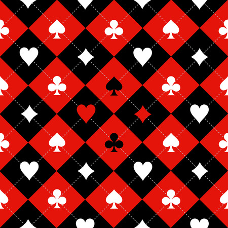 cards poker: Card Suit Chess Board Red Black White Background Illustration Illustration