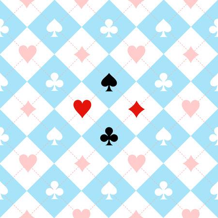 Karten-Anzugs-Schachbrett Blau Schwarz Weißer Hintergrund Illustration Standard-Bild - 49458530