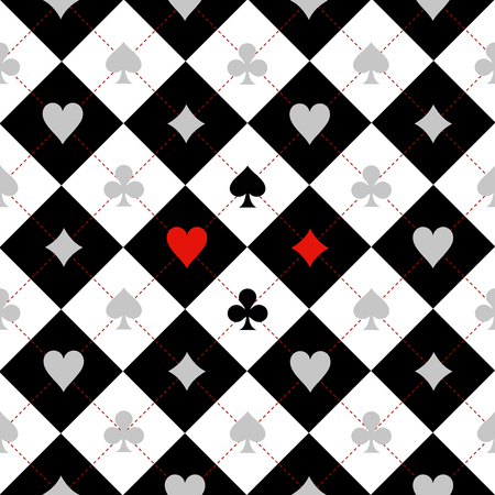 Card Suit Chess Board Black White Background Illustration