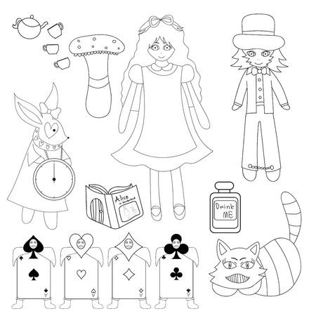 lewis: Alice in Wonderland isolated on White Background Illustration Illustration