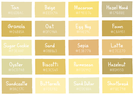 color charts: Tan Tone Color Shade Background with Code and Name Illustration