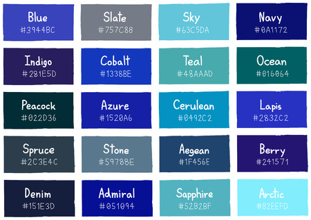 tone: Blue Tone Color Shade Background with Code and Name Illustration
