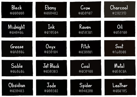 grease paint: Black Tone Color Shade Background with Code and Name Illustration Illustration