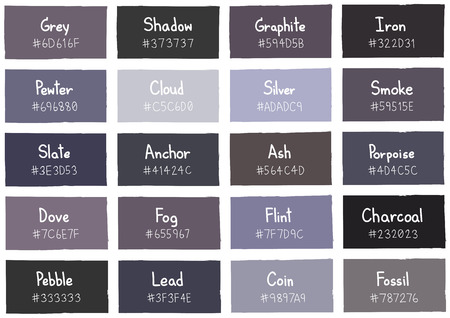 shade: Grey Tone Color Shade Background with Code and Name Illustration