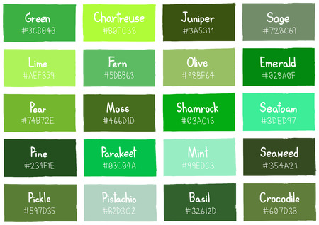 Green Tone Color Shade Background with Code and Name Illustration Illustration