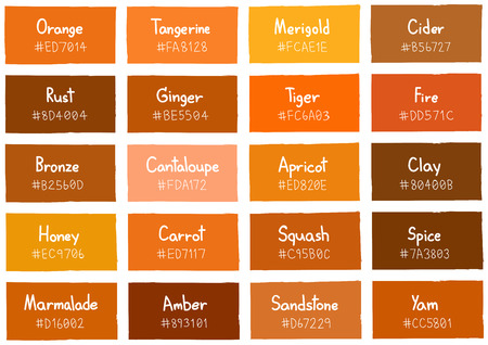 color charts: Orange Tone Color Shade Background with Code and Name Illustration Illustration