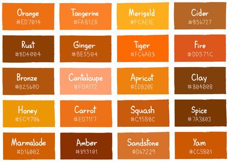 Orange Tone Color Shade Hintergrund mit Code und Name Illustration Vektorgrafik