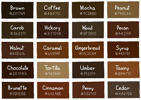 paleta de caramelo: Tono Marrón Color Shade Fondo con el código y el nombre de ilustraciones Vectores