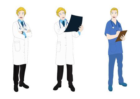caucasian: Medical Staff Full Body Caucasian Vector Illustration