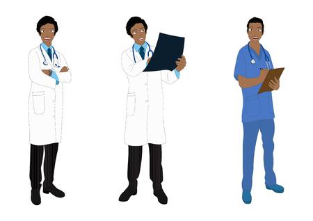 medical staff: Medical Staff Full Body African Color Vector Illustration