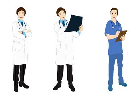 Medical Staff Full Body Asian Color Vector Illustration Vektorové ilustrace