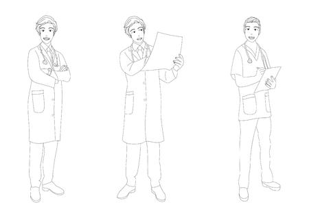 man full body: Medical Staff Man Full Body Vector Illustration