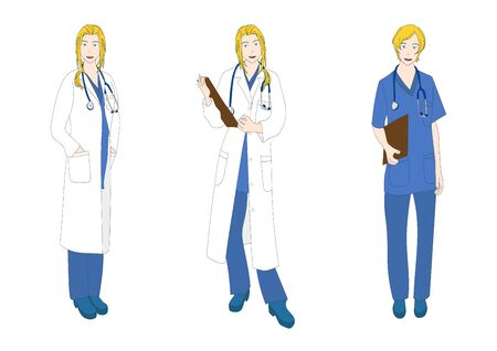 the caucasian: Medical Staff Woman Full Body Caucasian Color Vector Illustration Illustration