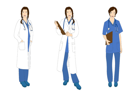 Medical Staff Woman Full Body Asian Color Vector Illustration Vektorové ilustrace