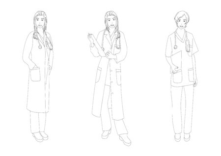 Medical Staff Woman Full Body Vector Illustration Vektorové ilustrace