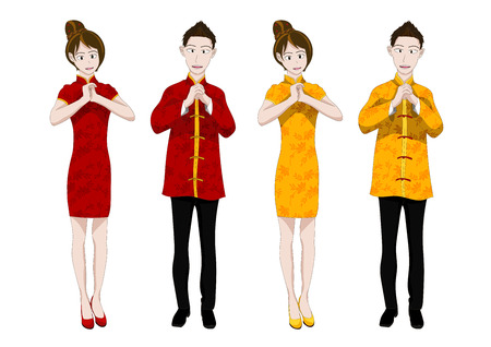chinese lady: Chinese New Year People Greeting Vector Illustration