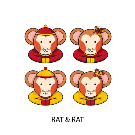 year of rat: Rat Chinese Happy New Year Vector Illustration