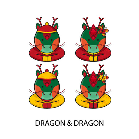 Dragon Chinese Happy New Year Vector Illustration