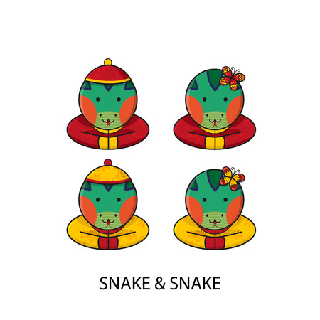 year of the snake: Snake Chinese Happy New Year Vector Illustration Illustration