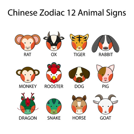 Chinese Zodiac 12 Animal Signs Vector Illustration