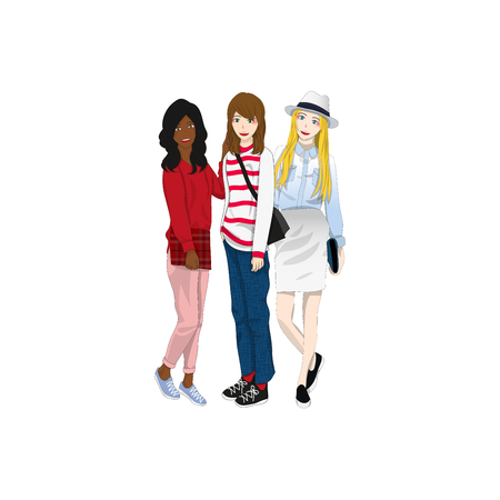fashion shopping: Group of  Three Cute Girl Friends Illustration.