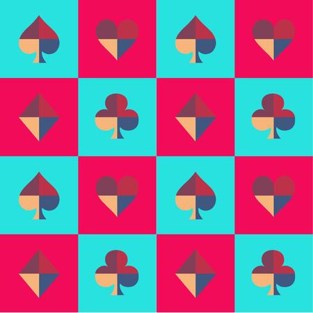 corazones azules: Tarjeta del juego de ajedrez Tablero de azul cielo y rosa patrón Ilustración