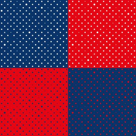 navy blue background: Set Navy Blue Red Star Polka Dots Background Vector Illustration.