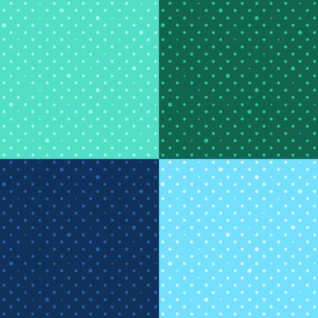 dark olive: Set Blue Green Star Polka Dots Background Vector Illustration.