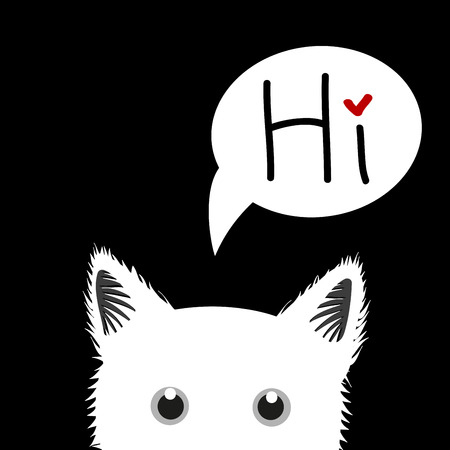 sneaking: white Cat Sneaking Greeting Card Vector Illustration Illustration